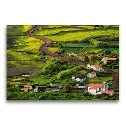 Premium Textil-Leinwand 75 x 50 cm Quer-Format Die Faja dos Cubres auf Sao Jorge, Azoren | Wandbild, HD-Bild auf Keilrahmen, Fertigbild auf hochwertigem Vlies, Leinwanddruck von Martin Zwick