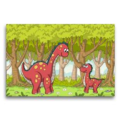 Premium Textil-Leinwand 75 x 50 cm Quer-Format Dinosaurier im Wald | Wandbild, HD-Bild auf Keilrahmen, Fertigbild auf hochwertigem Vlies, Leinwanddruck von Gabi Wolf