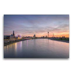 Premium Textil-Leinwand 75 x 50 cm Quer-Format Düsseldorf Skyline   Wandbild, HD-Bild auf Keilrahmen, Fertigbild auf hochwertigem Vlies, Leinwanddruck von Michael Valjak