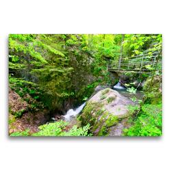 Premium Textil-Leinwand 75 x 50 cm Quer-Format Edelfrauengrabwasserfälle bei Ottenhöfen | Wandbild, HD-Bild auf Keilrahmen, Fertigbild auf hochwertigem Vlies, Leinwanddruck von Tanja Voigt