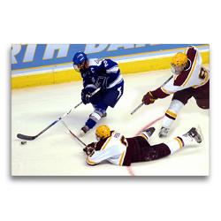 Premium Textil-Leinwand 75 x 50 cm Quer-Format Eishockey – Verfolgung des Gegners | Wandbild, HD-Bild auf Keilrahmen, Fertigbild auf hochwertigem Vlies, Leinwanddruck von Renate Bleicher