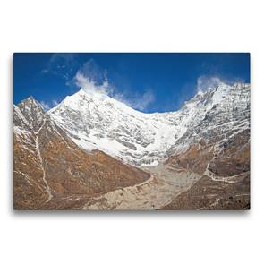 Premium Textil-Leinwand 75 x 50 cm Quer-Format Eisiger Wind am schneebedeckten Gipfel des Langtang Lirung | Wandbild, HD-Bild auf Keilrahmen, Fertigbild auf hochwertigem Vlies, Leinwanddruck von CALVENDO