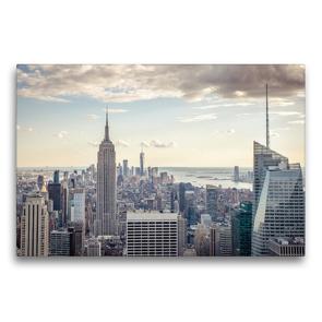 Premium Textil-Leinwand 75 x 50 cm Quer-Format Blick vom Empire State Building zum One World Trade Center | Wandbild, HD-Bild auf Keilrahmen, Fertigbild auf hochwertigem Vlies, Leinwanddruck von Philipp Blaschke