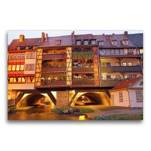 Premium Textil-Leinwand 75 x 50 cm Quer-Format Erfurts Krämerbrücke | Wandbild, HD-Bild auf Keilrahmen, Fertigbild auf hochwertigem Vlies, Leinwanddruck von Flori0