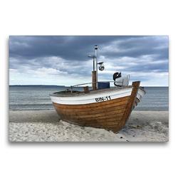 Premium Textil-Leinwand 75 x 50 cm Quer-Format Fischerboot an der Ostsee | Wandbild, HD-Bild auf Keilrahmen, Fertigbild auf hochwertigem Vlies, Leinwanddruck von (c) 2019 by Atlantismedia