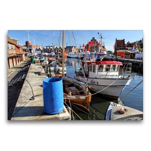 Premium Textil-Leinwand 75 x 50 cm Quer-Format Fischerboote an der Wismarer Fischerpier   Wandbild, HD-Bild auf Keilrahmen, Fertigbild auf hochwertigem Vlies, Leinwanddruck von Holger Felix