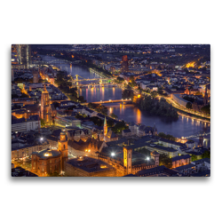Premium Textil-Leinwand 75 x 50 cm Quer-Format Frankfurt/Main – Fluß Main | Wandbild, HD-Bild auf Keilrahmen, Fertigbild auf hochwertigem Vlies, Leinwanddruck von TJPhotography (Thorsten Jung)