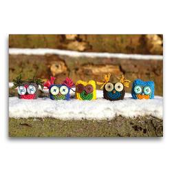 Premium Textil-Leinwand 75 x 50 cm Quer-Format Gehäkelte Eulen im Schnee | Wandbild, HD-Bild auf Keilrahmen, Fertigbild auf hochwertigem Vlies, Leinwanddruck von Wiebke Storm