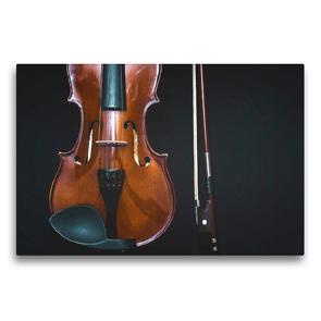 Premium Textil-Leinwand 75 x 50 cm Quer-Format Geige mit Geigenbogen | Wandbild, HD-Bild auf Keilrahmen, Fertigbild auf hochwertigem Vlies, Leinwanddruck von Renate Bleicher