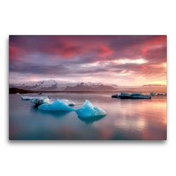 Premium Textil-Leinwand 75 x 50 cm Quer-Format Gletscherlagune Jökulsárlón | Wandbild, HD-Bild auf Keilrahmen, Fertigbild auf hochwertigem Vlies, Leinwanddruck von Judith Kuhn