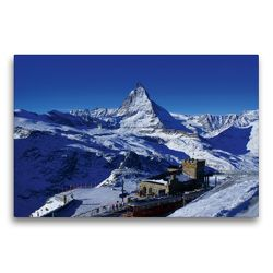 Premium Textil-Leinwand 75 x 50 cm Quer-Format Gornergrat mit Matterhorn. Zermatt | Wandbild, HD-Bild auf Keilrahmen, Fertigbild auf hochwertigem Vlies, Leinwanddruck von Susan Michel / CH
