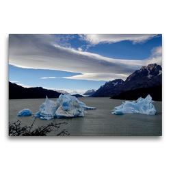 Premium Textil-Leinwand 75 x 50 cm Quer-Format Grey Lake/Torres del Paine-Nationalpark   Wandbild, HD-Bild auf Keilrahmen, Fertigbild auf hochwertigem Vlies, Leinwanddruck von Flori0