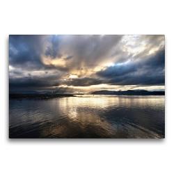 Premium Textil-Leinwand 75 x 50 cm Quer-Format Guten Morgen Norwegen | Wandbild, HD-Bild auf Keilrahmen, Fertigbild auf hochwertigem Vlies, Leinwanddruck von Christiane Calmbacher