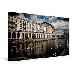 Premium Textil-Leinwand 75 x 50 cm Quer-Format Hamburg Binnenalster   Wandbild, HD-Bild auf Keilrahmen, Fertigbild auf hochwertigem Vlies, Leinwanddruck von Oliver Pinkoss Photostorys