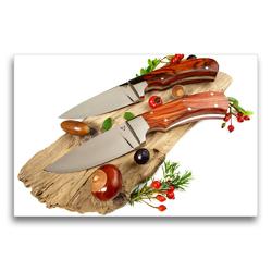 Premium Textil-Leinwand 75 x 50 cm Quer-Format Handgefertigte Jagdmesser mit herbstlicher Dekoration auf Holz | Wandbild, HD-Bild auf Keilrahmen, Fertigbild auf hochwertigem Vlies, Leinwanddruck von Georg Hergenhan