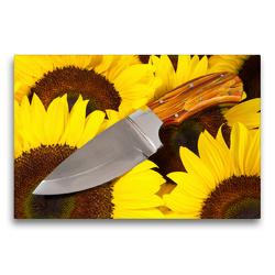 Premium Textil-Leinwand 75 x 50 cm Quer-Format Handgefertigtes Jagdmesser auf Sonnenblumen | Wandbild, HD-Bild auf Keilrahmen, Fertigbild auf hochwertigem Vlies, Leinwanddruck von Georg Hergenhan