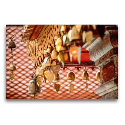 Premium Textil-Leinwand 75 x 50 cm Quer-Format Herzglocken im Kloster Doi Suthep bei Chiang Mai | Wandbild, HD-Bild auf Keilrahmen, Fertigbild auf hochwertigem Vlies, Leinwanddruck von Christian Müringer