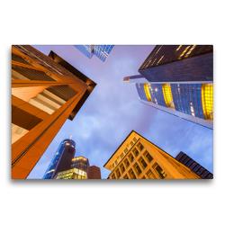 Premium Textil-Leinwand 75 x 50 cm Quer-Format Hochhäuser von Banken und Versicherungen im Bankenviertel in Frankfurt am Main | Wandbild, HD-Bild auf Keilrahmen, Fertigbild auf hochwertigem Vlies, Leinwanddruck von Werner Dieterich