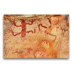 Premium Textil-Leinwand 75 x 50 cm Quer-Format Höhlenmalereien Cuevas de las Manos | Wandbild, HD-Bild auf Keilrahmen, Fertigbild auf hochwertigem Vlies, Leinwanddruck von Michael Kurz