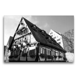 Premium Textil-Leinwand 75 x 50 cm Quer-Format Hotel Schiefes Haus im Ulmer Fischerviertel | Wandbild, HD-Bild auf Keilrahmen, Fertigbild auf hochwertigem Vlies, Leinwanddruck von kattobello