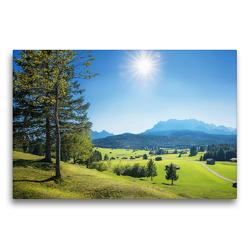 Premium Textil-Leinwand 75 x 50 cm Quer-Format Idyllische Landschaft mit Bergblick Oberbayern | Wandbild, HD-Bild auf Keilrahmen, Fertigbild auf hochwertigem Vlies, Leinwanddruck von SusaZoom