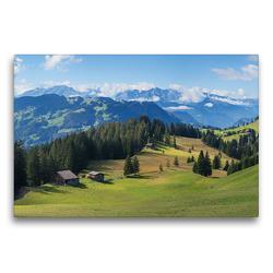 Premium Textil-Leinwand 75 x 50 cm Quer-Format Idyllische Schweizer Alpenlandschaft Stelserberg im Prättigau | Wandbild, HD-Bild auf Keilrahmen, Fertigbild auf hochwertigem Vlies, Leinwanddruck von SusaZoom