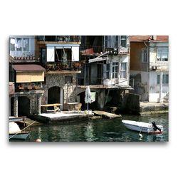 Premium Textil-Leinwand 75 x 50 cm Quer-Format Istanbul – Idylle am Ufer des Bosporus   Wandbild, HD-Bild auf Keilrahmen, Fertigbild auf hochwertigem Vlies, Leinwanddruck von Michael Herzog