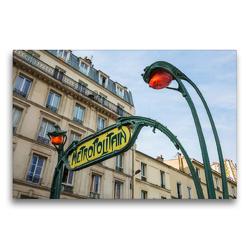 Premium Textil-Leinwand 75 x 50 cm Quer-Format Jugendstil-Metroschild mit Lampen in Paris | Wandbild, HD-Bild auf Keilrahmen, Fertigbild auf hochwertigem Vlies, Leinwanddruck von Christian Müller