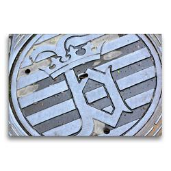 Premium Textil-Leinwand 75 x 50 cm Quer-Format Kanaldeckel Wanddekoration Brügge Belgien außergewöhnliches Wandbild Schachtabdeckung Gullydeckel Denkspiel | Wandbild, HD-Bild auf Keilrahmen, Fertigbild auf hochwertigem Vlies, Leinwanddruck von DieReiseEule