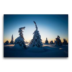 Premium Textil-Leinwand 75 x 50 cm Quer-Format Karelien in der untergehenden Sonne | Wandbild, HD-Bild auf Keilrahmen, Fertigbild auf hochwertigem Vlies, Leinwanddruck von Rolf Dietz