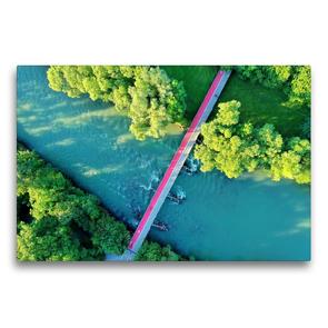 Premium Textil-Leinwand 75 x 50 cm Quer-Format Kempten von oben | Wandbild, HD-Bild auf Keilrahmen, Fertigbild auf hochwertigem Vlies, Leinwanddruck von Werner Thoma