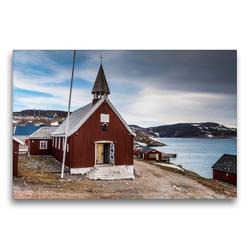 Premium Textil-Leinwand 75 x 50 cm Quer-Format Kirche von Ittoqqortoormiit | Wandbild, HD-Bild auf Keilrahmen, Fertigbild auf hochwertigem Vlies, Leinwanddruck von Mario Hagen