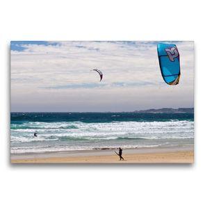 Premium Textil-Leinwand 75 x 50 cm Quer-Format Kite-Surfer am Playa A Lanzada   Wandbild, HD-Bild auf Keilrahmen, Fertigbild auf hochwertigem Vlies, Leinwanddruck von Andreas Schön