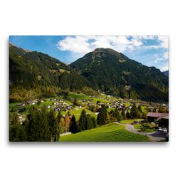 Premium Textil-Leinwand 75 x 50 cm Quer-Format Kleines Dorf bei Gaschurn | Wandbild, HD-Bild auf Keilrahmen, Fertigbild auf hochwertigem Vlies, Leinwanddruck von Tanja Riedel