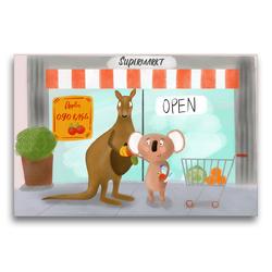 Premium Textil-Leinwand 75 x 50 cm Quer-Format Koala und Kängeru kaufen ein | Wandbild, HD-Bild auf Keilrahmen, Fertigbild auf hochwertigem Vlies, Leinwanddruck von Stephanie Langowski