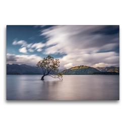 Premium Textil-Leinwand 75 x 50 cm Quer-Format Lake Wanaka und der einsame Wanaka Tree | Wandbild, HD-Bild auf Keilrahmen, Fertigbild auf hochwertigem Vlies, Leinwanddruck von Alexander Höntschel