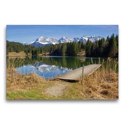Premium Textil-Leinwand 75 x 50 cm Quer-Format Landschaft Oberbayern Geroldsee und Karwendelgebirge   Wandbild, HD-Bild auf Keilrahmen, Fertigbild auf hochwertigem Vlies, Leinwanddruck von SusaZoom