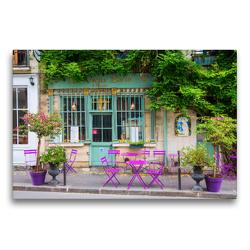 Premium Textil-Leinwand 75 x 50 cm Quer-Format malerisches Cafe in Paris | Wandbild, HD-Bild auf Keilrahmen, Fertigbild auf hochwertigem Vlies, Leinwanddruck von Christian Müller