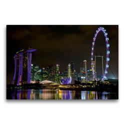 Premium Textil-Leinwand 75 x 50 cm Quer-Format Marina Bay Skyline | Wandbild, HD-Bild auf Keilrahmen, Fertigbild auf hochwertigem Vlies, Leinwanddruck von Ralf Wittstock