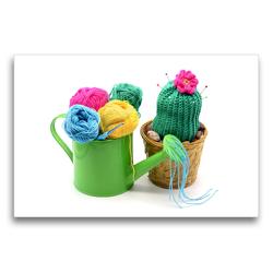 Premium Textil-Leinwand 75 x 50 cm Quer-Format Metal Gießkanne mit gehäkeltem Kaktus und Wolle | Wandbild, HD-Bild auf Keilrahmen, Fertigbild auf hochwertigem Vlies, Leinwanddruck von Anja Frost