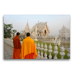Premium Textil-Leinwand 75 x 50 cm Quer-Format Monks at Wat Rong Khun, White Temple, Chiang Rai | Wandbild, HD-Bild auf Keilrahmen, Fertigbild auf hochwertigem Vlies, Leinwanddruck von Christian Heeb