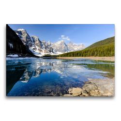 Premium Textil-Leinwand 75 x 50 cm Quer-Format Moraine Lake, Juwel im Banff NP. | Wandbild, HD-Bild auf Keilrahmen, Fertigbild auf hochwertigem Vlies, Leinwanddruck von Adrian Geering