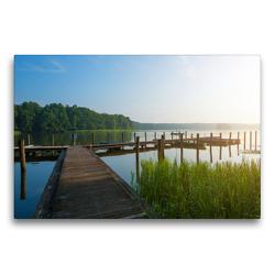 Premium Textil-Leinwand 75 x 50 cm Quer-Format Morgens am Moderfitzsee   Wandbild, HD-Bild auf Keilrahmen, Fertigbild auf hochwertigem Vlies, Leinwanddruck von Kerstin Waurick