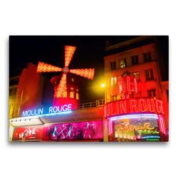 Premium Textil-Leinwand 75 x 50 cm Quer-Format Moulin Rouge in Paris bei Nacht | Wandbild, HD-Bild auf Keilrahmen, Fertigbild auf hochwertigem Vlies, Leinwanddruck von Christian Müller