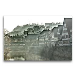 Premium Textil-Leinwand 75 x 50 cm Quer-Format Nebel über Schwäbisch-Hall | Wandbild, HD-Bild auf Keilrahmen, Fertigbild auf hochwertigem Vlies, Leinwanddruck von Lost Plastron Pictures