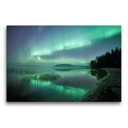 Premium Textil-Leinwand 75 x 50 cm Quer-Format Neblige Nacht in Schweden | Wandbild, HD-Bild auf Keilrahmen, Fertigbild auf hochwertigem Vlies, Leinwanddruck von Pierre Oesterle