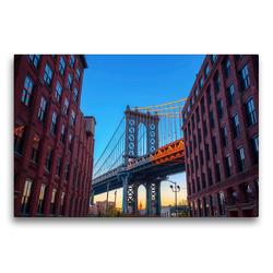 Premium Textil-Leinwand 75 x 50 cm Quer-Format Manhattan Bridge in New York City | Wandbild, HD-Bild auf Keilrahmen, Fertigbild auf hochwertigem Vlies, Leinwanddruck von Christian Müller