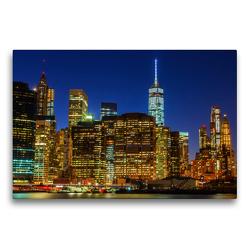 Premium Textil-Leinwand 75 x 50 cm Quer-Format Skyline von Downtown Manhattan | Wandbild, HD-Bild auf Keilrahmen, Fertigbild auf hochwertigem Vlies, Leinwanddruck von Christian Müller