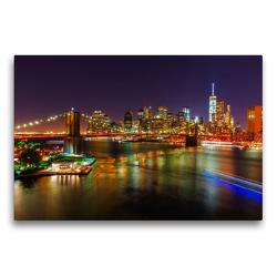 Premium Textil-Leinwand 75 x 50 cm Quer-Format Brooklyn Bridge in NYC bei Nacht | Wandbild, HD-Bild auf Keilrahmen, Fertigbild auf hochwertigem Vlies, Leinwanddruck von Christian Müller