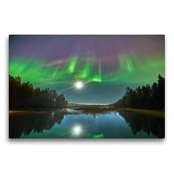 Premium Textil-Leinwand 75 x 50 cm Quer-Format Nordlichter tanzen im Mondschein | Wandbild, HD-Bild auf Keilrahmen, Fertigbild auf hochwertigem Vlies, Leinwanddruck von Pierre Oesterle